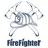 Firefighting logo. The fireman`s head in a mask. Fire department label. Vector graphics to design Royalty Free Stock Photos