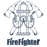Firefighting logo. The fireman`s head in a mask. Fire department label. Vector graphics to design Royalty Free Stock Images