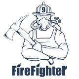 Firefighting logo. The fireman`s head in a mask. Fire department label. Vector graphics to design Royalty Free Stock Photo