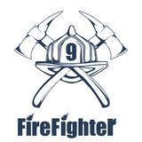 Firefighting logo. The fireman`s head in a mask. Fire department label. Vector graphics to design Stock Photography
