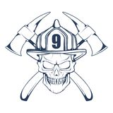 Firefighting logo. The fireman`s head in a mask. Fire department label. Vector graphics to design Stock Images