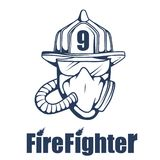 Firefighting logo. The fireman`s head in a mask. Fire department label. Vector graphics to design Royalty Free Stock Photography