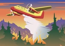 Firefighting plane dropping water above burning forest. Aerial firefighting and wildfire concept in color. Flat vector. Firefighting plane dropping water on vector illustration