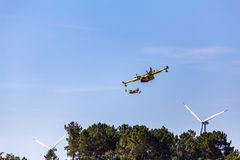 Firefighting Plane in Portugal. Fire in Portugal. Royalty Free Stock Images