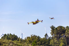 Firefighting Plane in Portugal. Fire in Portugal. Stock Photo