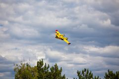 Firefighting plane in the air. Firefighting plane training in the air royalty free stock photo