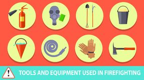 Firefighting Poster Depicting Tools and Equipment. Vector illustration of icons of extinguisher, respirator, fire shovel, long hook, bucket with sand etc Royalty Free Stock Photo
