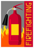 Firefighting poster with extinguisher and fire. Fire safety equipment Stock Photos