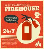 Firefighting retro poster. Firefighting rescue and protection professional firefighters poster with fire extinguisher vector illustration Royalty Free Stock Photography