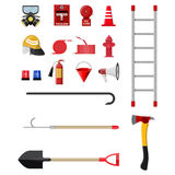 Firefighting set. Fire protection equipment. Vector illustration in flat style Stock Photo