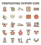 Firefighting system icon. Firefighting system and fire sprinkler icon set Royalty Free Stock Photos