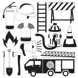 Firefighting Tool Icons Set. Black and white firefighting tool icons set Royalty Free Stock Image