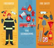 Firefighting vector banners set of fireman tools. Fire extinguishing or firefighting and fire safety banners set. Vector design of firefighter tools engine truck Stock Photography