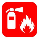 Firefighting vector icon. Firefighting vector red icon isolated on white background Royalty Free Stock Image