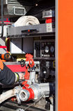 Firefighting vehicle with hose 2. German Firefighting vehicle with hose Stock Photo