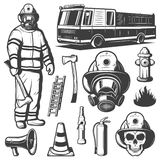 Firefighting Vintage Elements Set. With fireman in uniform fire truck skull and rescue equipment isolated vector illustration Royalty Free Stock Images