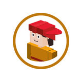 Firefigther isometric avatar. Icon  illustration graphic design Royalty Free Stock Photography