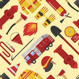 Firefiters pattern vector illustration. Color vector seamless pattern firefighter equipment. Flat icon emergency fireman hydrant engine protection background Stock Photography