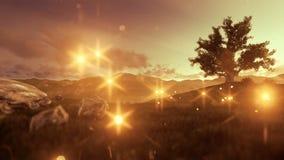 Fireflies πέρα από το πράσινα λιβάδι και το δέντρο της ζωής στη χρυσή ώρα ελεύθερη απεικόνιση δικαιώματος