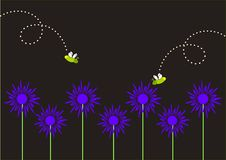 Fireflies and Blue Flowers. Illustration of two cartoon style fireflies above blue daisy like flowers against a black, nighttime, background Royalty Free Stock Photography