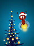 Fireflies celebrate the Christmas. Illustration of fireflies celebrate the Christmas Stock Photo