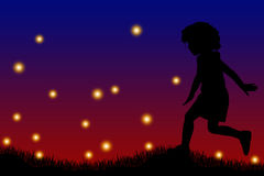 Fireflies. Child running in the night with fireflies all around Royalty Free Stock Image