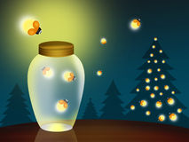 Fireflies at Christmas. Illustration of fireflies at Christmas Royalty Free Stock Photography