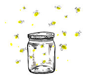 Fireflies flying around the jar. In hand drawing Stock Photography
