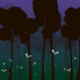 Fireflies in the forest at night. Cartoon fireflies in the forest at night - vector illustration Stock Photos