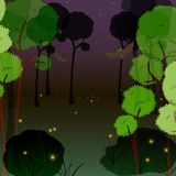 Fireflies in the forest at night. Vector illustration Stock Photo
