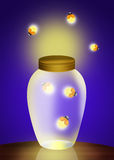 Fireflies. Illustration of fireflies in the jar Royalty Free Stock Photo