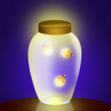Fireflies in the jar. Illustration of fireflies in the jar Royalty Free Stock Photos