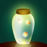 Fireflies in the jar. Illustration of fireflies in the jar Stock Photo
