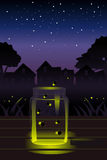 Fireflies in the jar stock illustration