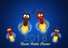 Fireflies for the New year. Funny illustration of happy new year Royalty Free Stock Photo