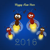 Fireflies for the New year. Illustration of fireflies for the New year Royalty Free Stock Image