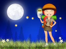 Fireflies in the night. Illustration of fireflies in the night Royalty Free Stock Photos