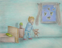 Fireflies. Story drawing colored pencils Stock Photography