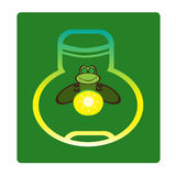 Fireflies, vector illustration. Cute firefly sits in the bank, and all around the world Stock Images