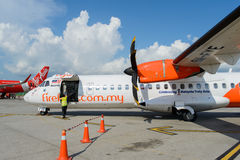 Firefly ATR-72. LANGKAWI - MAY 01: Firefly ATR-72 on May 01, 2014 in Langkawi, Malaysia. FlyFirefly Sdn Bhd, operating as Firefly, is a full-service point-to Royalty Free Stock Photography