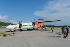 Firefly ATR-72. LANGKAWI - MAY 01: Firefly ATR-72 on May 01, 2014 in Langkawi, Malaysia. FlyFirefly Sdn Bhd, operating as Firefly, is a full-service point-to Stock Image