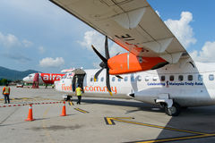 Firefly ATR-72. LANGKAWI - MAY 01: Firefly ATR-72 on May 01, 2014 in Langkawi, Malaysia. FlyFirefly Sdn Bhd, operating as Firefly, is a full-service point-to Royalty Free Stock Images