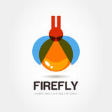 Firefly bug logo design template. Abstract colorful lamp icon. V. Ector illustration Royalty Free Stock Photo
