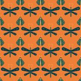 Firefly and dragonfly seamless pattern. Horizontal orderly design for background Royalty Free Stock Photo