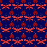 Firefly and dragonfly seamless pattern. Horizontal orderly design for background Stock Photography