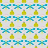 Firefly and dragonfly seamless pattern. Horizontal orderly design for background Royalty Free Stock Photos