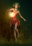 Firefly Lamp, 3d Computer Graphics. 3D computer graphics of a fairy with a lantern in her hand Stock Photos