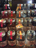 Firefly Moonshine. A display for multiple flavors of Firefly Moonshine stock photos