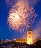Fireworks in Tallinn, Estonia Stock Images