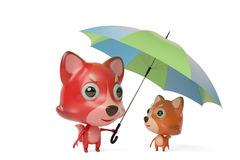Firefox Dad with an umbrella to shade son. 3D illustration. Firefox Dad with an umbrella to shade son Stock Photography